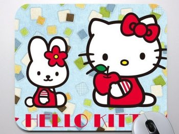 Hello Kitty Customized Rubber Mouse Pads / Mats For Promotional Gift