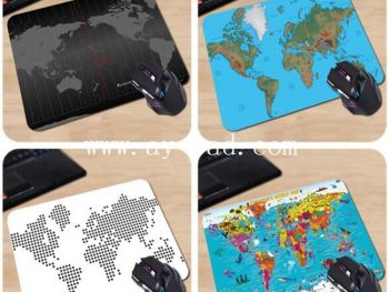 AY Hot Sales Rubber Black Mouse Mat Mousepad Word Map Anti-Slip Mouse Pad