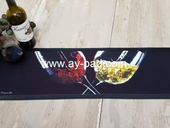 AY Personalised Black Bar Beam Mat Runners Shot Name Printing Drip Bar Mates Size Custom Absolute Rubber Beer Bar Mat For Sale