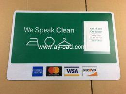 AY A3 oem logo full color printed pvc insert counter mat